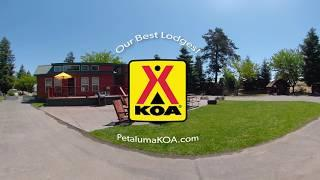 Check out the shared area at the luxury lodges in San Francisco North Petalauma KOA - 360 Video Tour