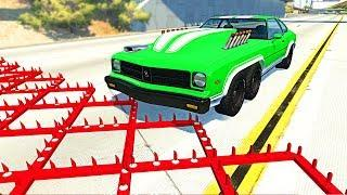 Massive Spike Strip Pileup Crashes #7 - BeamNG Drive Cars