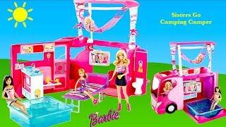 Barbie Sisters Go Camping Camper Unboxing Set Up & Tour -  Dream Camper Van Barbie Dolls Holiday