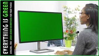 Woman looking led screen monitor Green Screen after effects Premiere pro Chroma Key Royalty Free