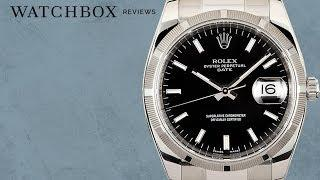 Rolex Oyster Perpetual Date 115210 Engine Turned Bezel Luxury Watch Review
