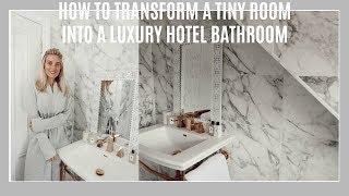 HOW TO TRANSFORM A TINY ROOM INTO A LUXURY HOTEL BATHROOM | IAM CHOUQUETTE HOME TOURS
