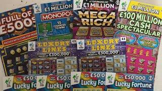 Video 94 - Full of 500's, Mega Rich, Cash Spectacular, Luxury Lines...Scratchcards????