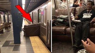 This man brought the couch on the TRAIN for $2.50 instead of hiring a $90 mover
