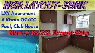 HSR Layout 3BHK Luxury New Apartment Resale at Best Price