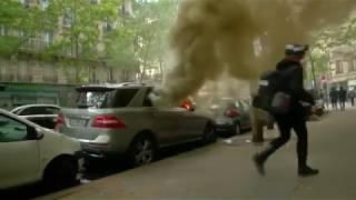 Cars are torched as violence breaks out in Paris May Day protests