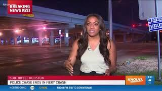 Police chase with luxury car ends in fiery crash in southwest Houston