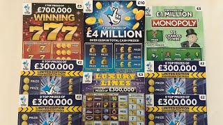 Video 128 - £4 Mill Blue, Winning 777's, Monopoly, Luxury Lines & £300k Blue Scratchcards????