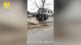 Car stuck between a building and a tree