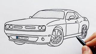 How to Draw Dodge Sports Luxury Car - Easy Drawing Cars - Basit Spor Araba Çizimi