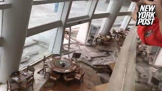 Biblical flood fills luxury hotel lobby