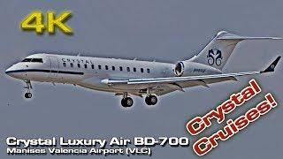 Crystal Luxury Air [4K] (Crystal Cruises) Bombardier BD-700 Global (N989SF) Valencia