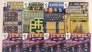 Video 121 - Luxury Lines, Bingo, Pharaohs, VIP & Jewel Multiplier Scratchcards????