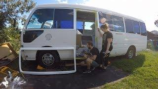 Toyota Coaster Bus Conversion - Caravan Door Installation and Battery Replacement